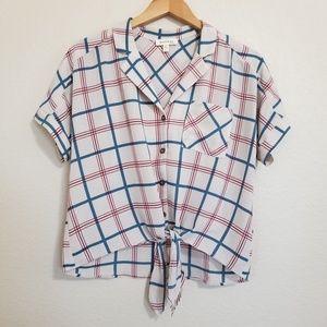 Monteau Plaid Printed Tie Front Blouse Top L